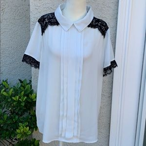☀️Karl Lagerfeld Wht Sheer Pleat Lace Blouse  L
